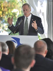 Sen. Tom Carper speaking during ground breaking ceremony for the new Chesapeake Utilities Business Campus in Dover.