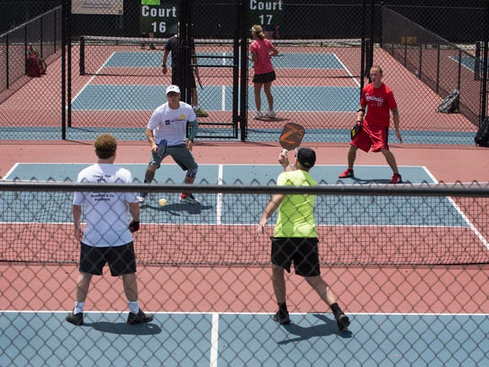 Several pickleball games were played during media day