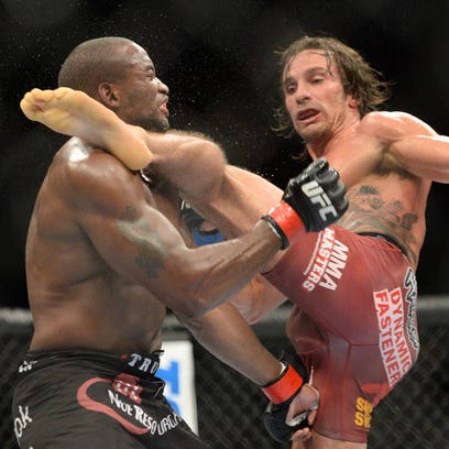 Josh Samman knocks out Eddie Gordon during UFC 181 at Madalay Bay Events Center.