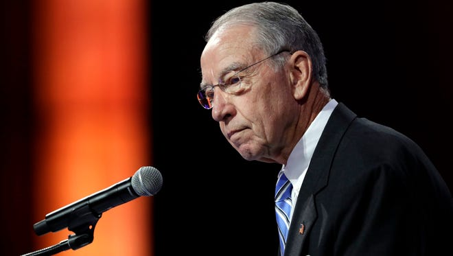 In this July 15, 2016, file photo, Sen. Chuck Grassley speaks during the National Governors Association meeting in Des Moines, Iowa.