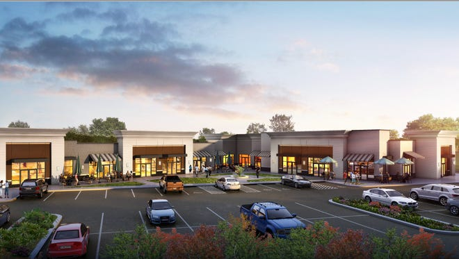 This rendering shows what a shopping center is supposed to resemble when it opens by September at the southeast corner of Fortress and John Rice boulevards.