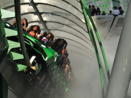Through the mist. The Incredible Hulk roller coaster at Universal Studios Islands of Adventure in Orlando has been revamped after being closed for the redesign with new ride vehicles, improved track, new music, a new storyline, new entrance, and a redesigned queue area.