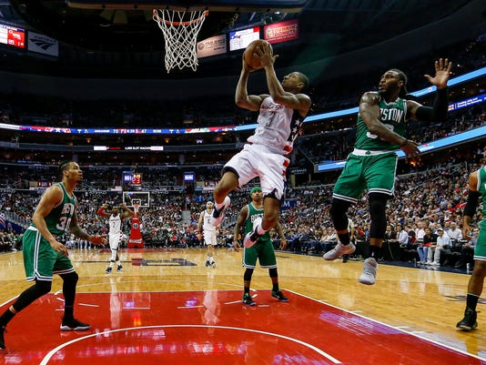 Washington Wizards guard Bradley Beal (3) shoots during the second half in Game 3 of a second-round NBA playoff series basketball game, Thursday, May 4, 2017, in Washington. (AP Photo/Andrew Harnik)