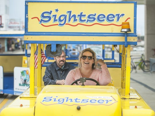 Courier-Post reporter Carly Q. Romalino drives the Sightseer tram car in Wildwood.