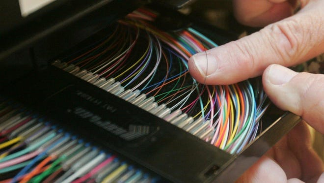 A closeup of fiber optic cable.
