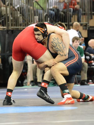 Oregon State heavyweight Amarveer Dhesi (right) competes in the NCAA Championships on Thursday at Madison Square Garden in New York City.