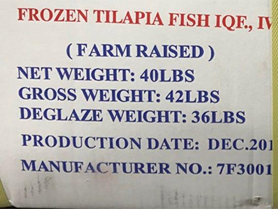 Markings on cartons of tilapia stolen from a Washington