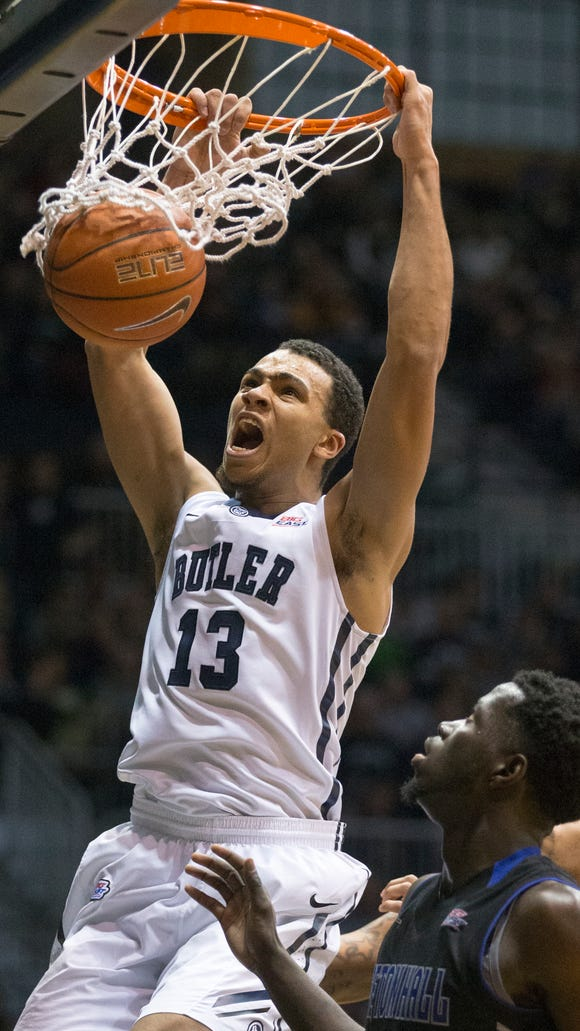 Butler's Jackson Davis scores on a dunk during the Bulldogs'  77-57 victory over Seton Hall on Jan. 25, 2015.