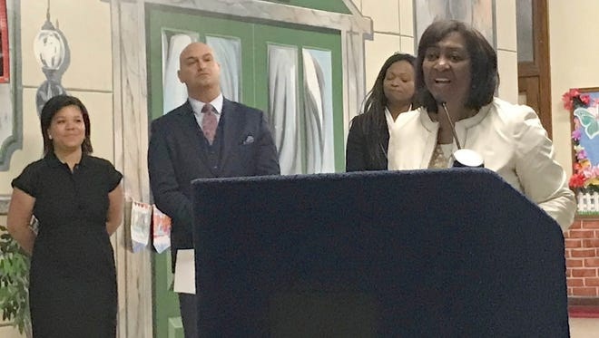 President and CEO of the W.K. Kellogg Foundation, La June Montgomery Tabron announced they would be donating $3 million to Detroit schools. She joined Superintendent of Detroit Schools Nikolai Vitti at a press conference Wednesday, March 21, 2018 in Detroit.