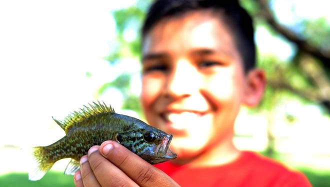 In this file photo, Javier Bernal shows off a fish he caught at South Weeks Pond. A fishing rodeo will begin at 10 a.m.  during the Scottish Rite Community Picnic. Registration begins at 9 a.m. The event is free and open to the public. Free hot dogs and hamburgers will be available noon to 1 p.m.