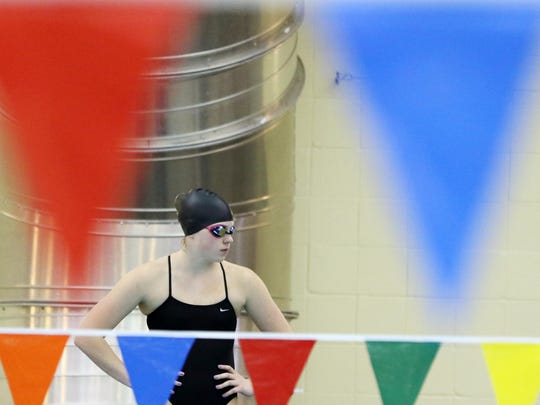 McNary's Marissa Kuch gets ready to compete in the 200-yard freestyle during a Greater Valley Conference dual meet on Thursday, Jan. 14, 2016, at the Kroc Center.