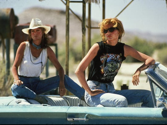 "The 1991 film ""Thelma and Louise"" stars Susan Sarandon, left, and Geena Davis."