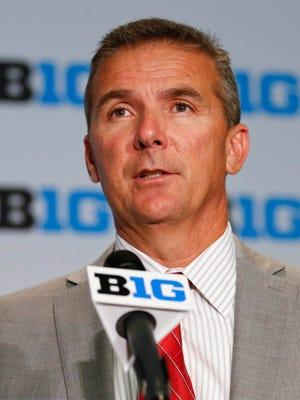 Ohio State head coach Urban Meyer speaks during 2015 Big Ten Football Media Days