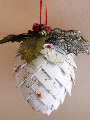 Crafters will fold and pin scrapbook paper to make a pinecone ornament at the Nov. 21 Crafternoon program at the Fond du Lac Public Library. Space is limited.