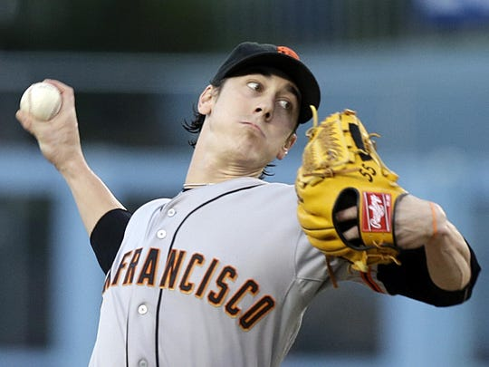 San Francisco Giants pitcher Tim Lincecum is a two-time NL Cy Young Award winner.