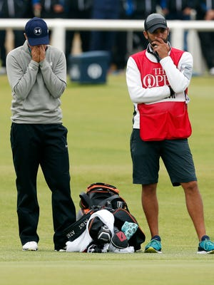 Jordan Spieth reacts to not making a putt on the 18th hole during the final round of the 144th Open Championship at St. Andrews - Old Course.