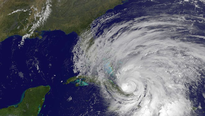 A NOAA satellite shows Hurricane Sandy as it spun off the Florida coast in October 2012.