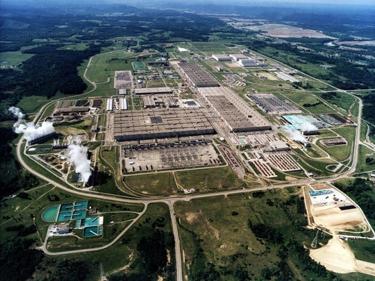 Aerial view of the former Portsmouth Gaseous Diffusion Plant in Piketon, Ohio. The plant is near a middle school that recently was closed because of radiation levels near it.