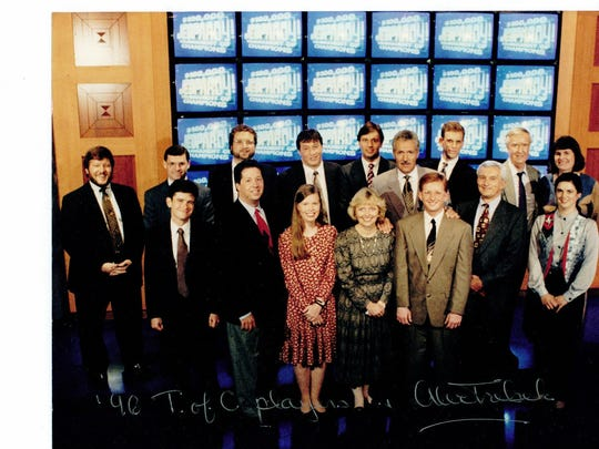 Robert Scarpone of Flanders, far left, with Alex Trebeck and other competitors in the 1996 'Jeopardy' Tournament of Champions. Scarpone, who was retired as an unbeaten champion earlier in the year, finished second in the tournament.