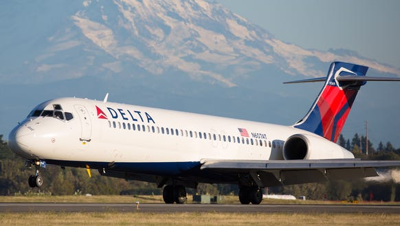 A Delta Air Lines Boeing 717 is seen at Seattle-Tacoma
