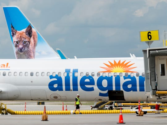 An Allegiant Air flight takes off at McGhee Tyson Airport in Alcoa, Tennessee on Wednesday, June 20, 2018. Allegiant announced that it would be adding two aircraft and a maintenance facility at McGhee Tyson; a $50 million investment that will create 66 jobs.