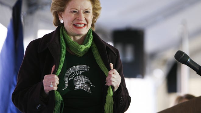 Debbie Stabenow U.S. Senator Debbie Stabenow [D-MI] remarks about the Spartan Men's Basketball team and their BIg Ten tournament win Sunday, before speaking at MSU's Groundbreaking Ceremony for the Facility for Rare Isotope Beams, Monday, March 17, 2014, at MSU.  [Photo March 17, 2014 by MATTHEW DAE SMITH | for the Lansing State Journal]