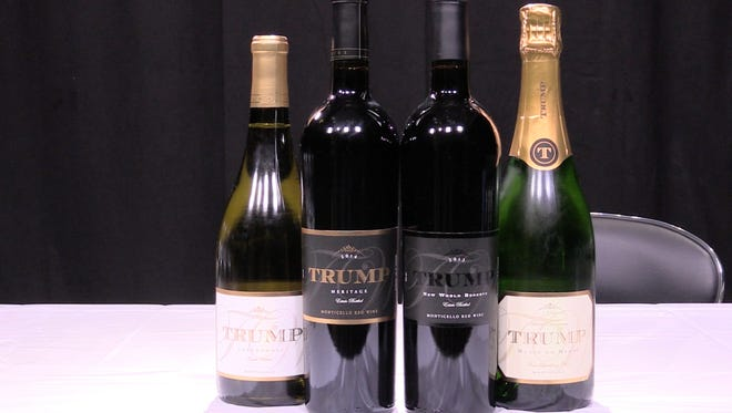 A wine expert taste-tested four wines from the Trump Winery in Virginia. From left: A 2014 Chardonnay, a 2014 Meritage, a 2013 New World Reserve and a 2009 Sparkling Blanc de Blanc.