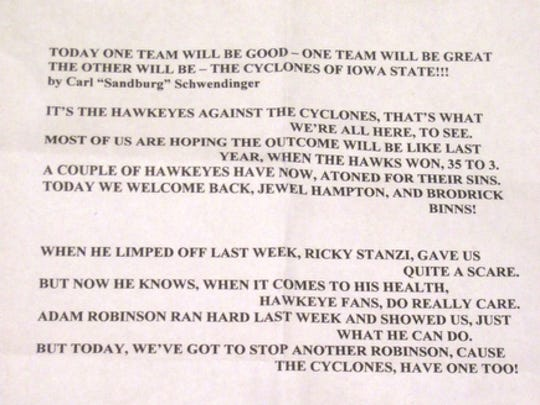 This is the text of the poem that Carl Schwendinger read Sept. 11, 2010, at that year's Cy-Hawk game in Iowa City.
