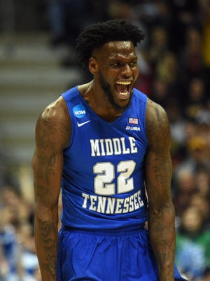 Middle Tennessee Blue Raiders forward JaCorey Williams (22) celebrates during the second half of the game against the Minnesota Golden Gophers in the first round of the NCAA Tournament at BMO Harris Bradley Center.
