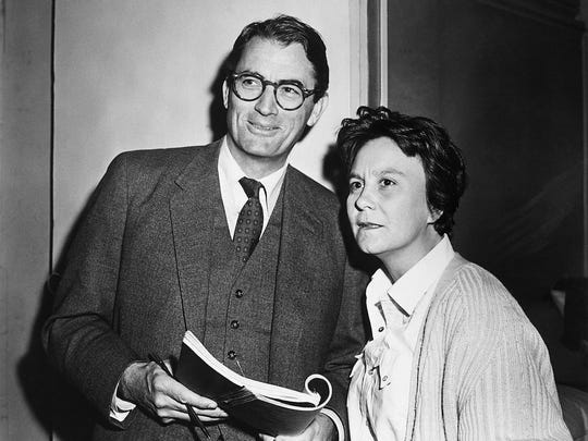 "Actor Gregory Peck and novelist Harper Lee in 1962 on the set of the Universal Pictures release ""To Kill A Mockingbird,"" in which Peck played the hero, Atticus Finch."