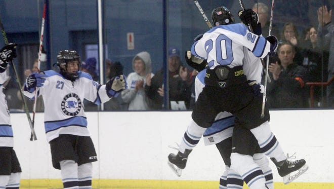 Suffern celebrates a power play goal in the second period of a varsity hockey game at Sport-O-Rama in Monsey Nov. 26, 2016. The goal put Suffern up 2-0, which ended up being the final score.