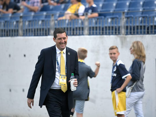Nashville SC's Mike Jacobs during warm ups before a