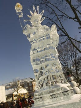 An ice image of the State of Liberty from an earlier Plymouth Ice Festival.