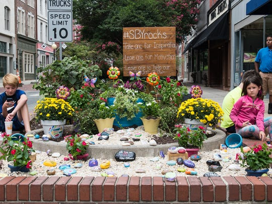 A view of Salisbury's Kindness Rock garden at the corner