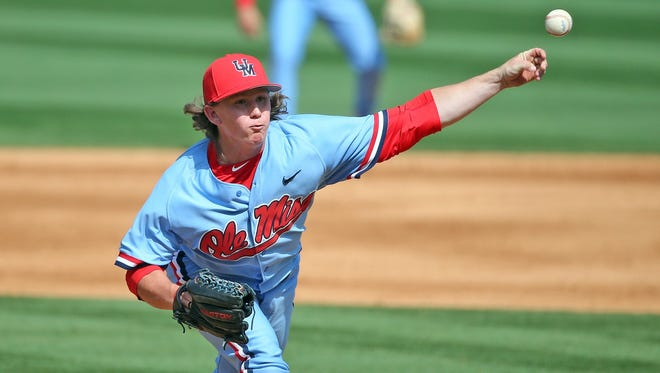 Closer Wyatt Short throws against South Carolina on March 26. He could be an option to move into Ole Miss' weekend rotation, which has struggled to go deep into games of late.