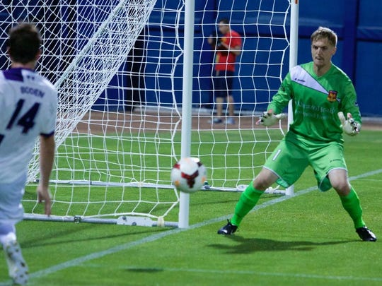 Arizona United SC goalkeeper Evan Newton makes a save in the second half of its game May 17 against Orlando City SC.