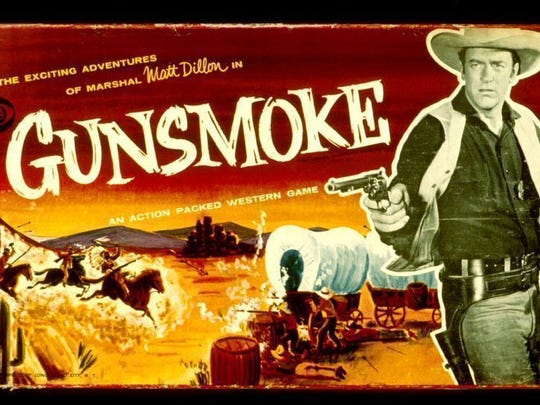 "Many popular TV Westerns offered spin-off products, as demonstrated by this 1958 board game based on the CBS series ""Gunsmoke."""