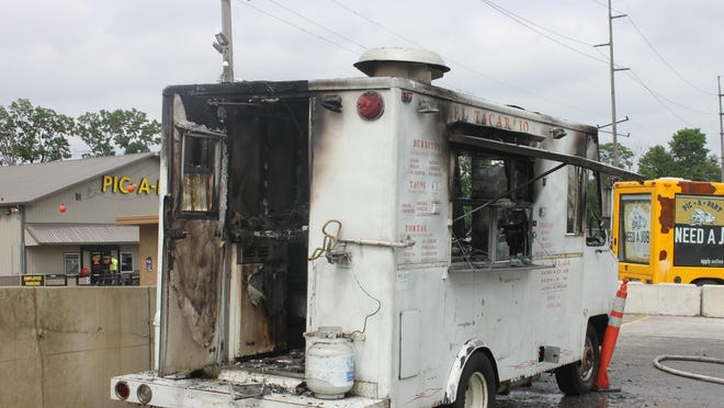 Three men, two workers and one customer, were critically injured Saturday, June 20, 2015, in a food truck fire at Pic a Part at 940 W. 16th St. The unidentified men were transported to Eskenazi Hospital, where they are being treated in the burn unit.