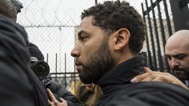 """Empire"" actor Jussie Smollett leaves Cook County jail following his release, Feb. 21, 2019, in Chicago."