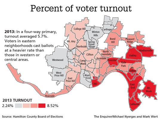 What Do Maps Tells Us About Cincinnati Mayoral Election - Election turn out us map