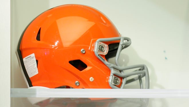 A Cleveland Browns helmet is seen on display on the set of the NFL Network studios Sept. 9, 2015, in Culver City, California.