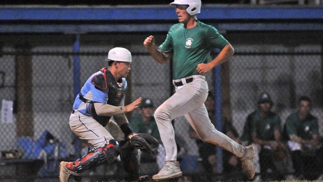 Weymouth Shamrocks' Max McDonald scores the lone run of the game as Braintree White Sox catcher Rick Smith takes a late throw during Cranberry League baseball at Braintree, Tuesday, Aug. 18, 2020. Tom Gorman/For The Patriot Ledger