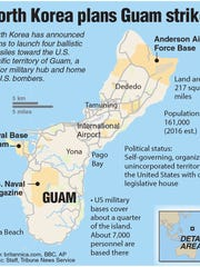 Locator map and statistics of Guam.