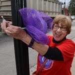 Angela Zdun, a South Lyon East 10th grader, helps to set up signs along Pontiac Trail in South Lyon on Saturday to get the word out about the May 14-15 Relay for Life event at Millennium Middle School.