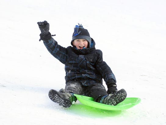 Caiden Delor, 10, of St. Clair, can't help but smile