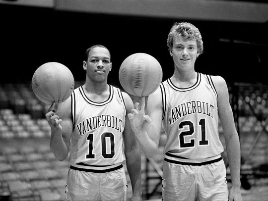 Two prominent basketball names appearing on the Vanderbilt basketball roster this season will be that of Sydney Grider, left, son of the late Harlem Globetrotters/Magicians star Josh Grider, and Chip Rupp, grandson of the late UK coach Adolph Rupp. They gather for Picture Day at Memorial Gym Sept. 26, 1985.