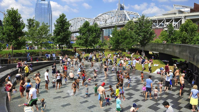 Young and old alike enjoyed the cooling waters during the heat of the day at WaterFest in Cumberland Park on Saturday.