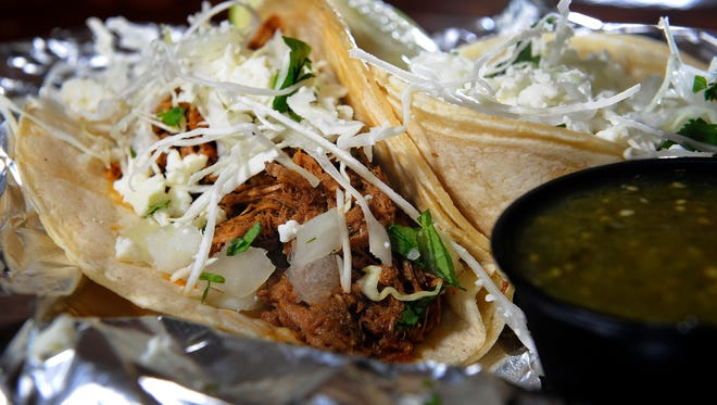 Machaca Street Tacos with cabbage, onions, cotija from Nashville Street Tacos.