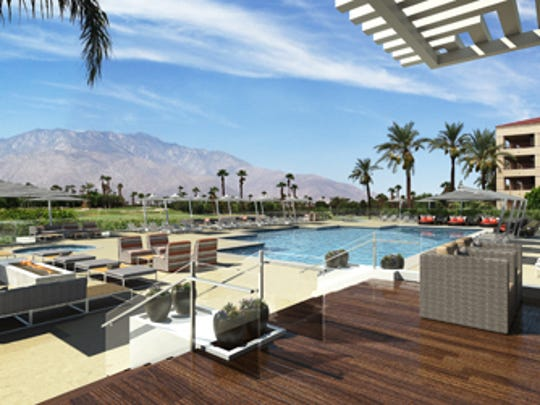 An architect's sketch of the new pool area at the Double Tree by Hilton Golf Resort Palm Springs, which was the former Desert Princess resort in Cathedral City.