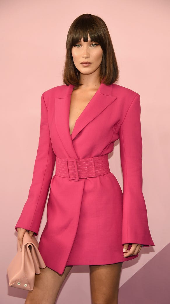 Bella Hadid looks sharp in a matching blazer-styled